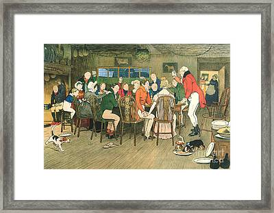 The Christmas Dinner At The Inn Framed Print by Cecil Charles Windsor Aldin