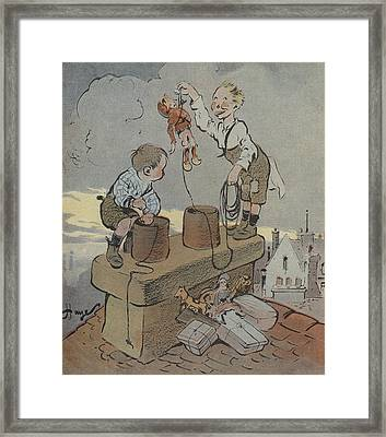 The Christmas Of Little Scoundrels Framed Print by French School