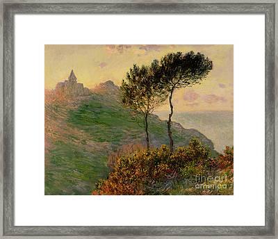 The Church At Varengeville Against The Sunlight Framed Print by Claude Monet