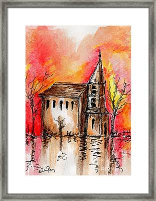 The Church By The River Framed Print by Callan Percy