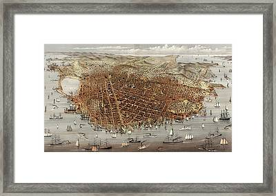 The City Of San Francisco  Birds Eye View From The Bay Framed Print by Currier and Ives