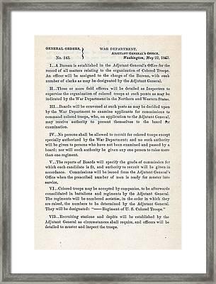 The Civil War. The Us War Department Framed Print by Everett