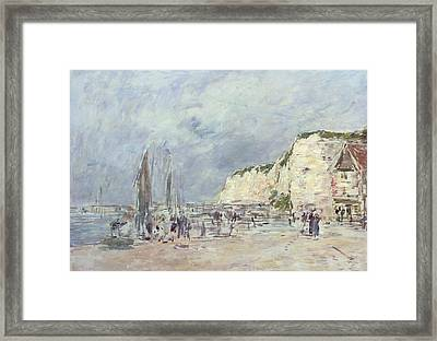 The Cliffs At Dieppe And The Petit Paris Framed Print by Eugene Louis Boudin