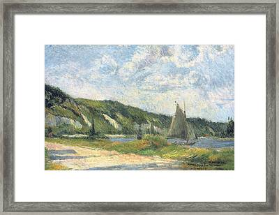 The Cliffs Of La Bouille Framed Print by Paul Gauguin
