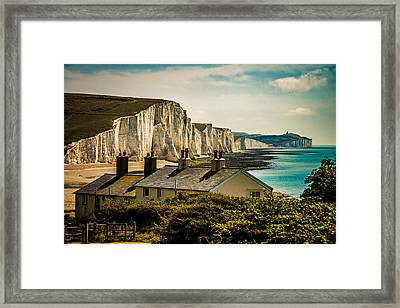 The Coast Guard Cottages And The Seven Sisters Framed Print by Chris Lord