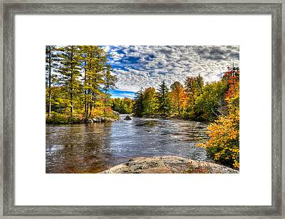 The Colors Of Autumn On The Moose River Framed Print by David Patterson