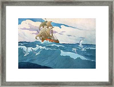 The Coming Of The Mayflower  Framed Print by Newell Convers Wyeth
