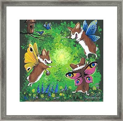The Corgi Fairy Fair Framed Print by Margaryta Yermolayeva