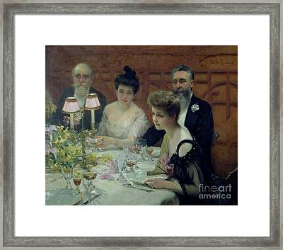 The Corner Of The Table Framed Print by Paul Chabas