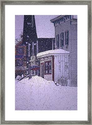 The Country Store Amidst The Snow  Framed Print by Nancy Griswold