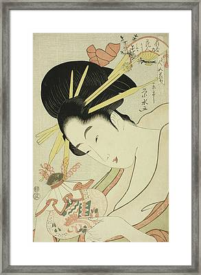 The Courtesan Hanahito Of The Ogiya And Attendants Sakura And Momiji Framed Print by Ichirakutei Eisui