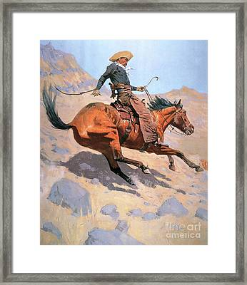 The Cowboy Framed Print by Frederic Remington
