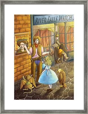 The Cowboy On River Street Framed Print by Reynold Jay