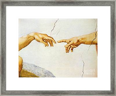 The Creation Of Adam Framed Print by Michelangelo Buonarroti