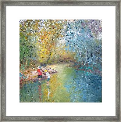 The Creek In The Forest Framed Print by Jan Matson