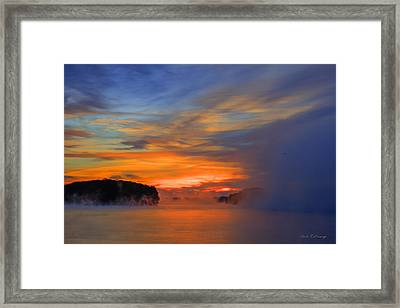 The Creeping Fog Lake Oconee Georgia Framed Print by Reid Callaway