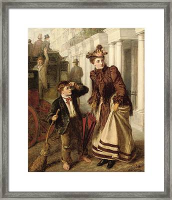 The Crossing Sweeper Framed Print by William Powell Frith