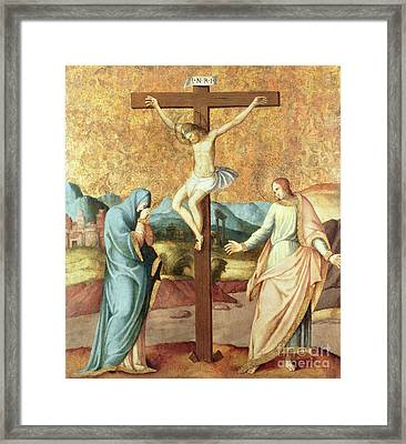 The Crucifixion With The Virgin And St John The Evangelist Framed Print by French School