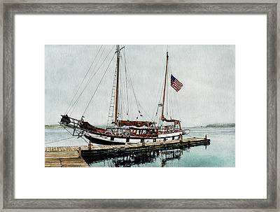 The Cutty Sark In Penn Cove Fog Framed Print by Perry Woodfin