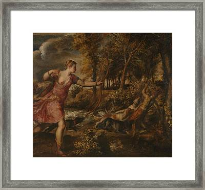 The Death Of Actaeon Framed Print by Titian