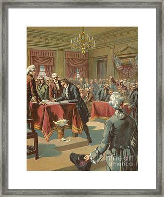 The Declaration Of Independence Framed Print by American School