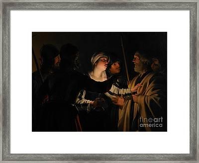 The Denial Of St Peter Framed Print by Gerrit van Honthorst