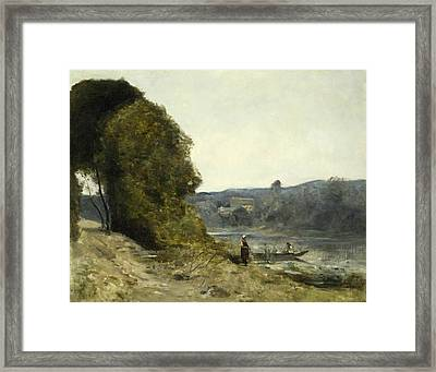 The Departure Of The Boatman Framed Print by Jean-Baptiste-Camille Corot