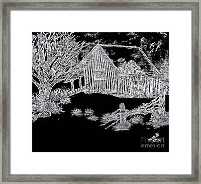 The Deserted Cabin At Night Framed Print by Debra Lynch