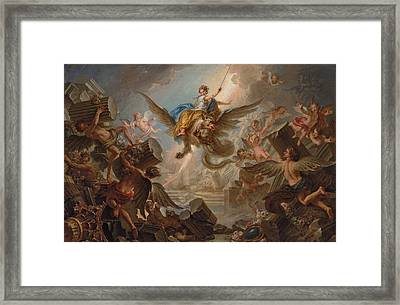 The Destruction Of The Palace Of Armida Framed Print by Charles Antoine Coypel