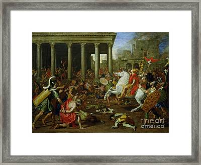 The Destruction Of The Temples In Jerusalem By Titus Framed Print by Nicolas Poussin