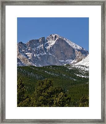 The Diamond On Longs Peak In Rocky Mountain National Park Colorado Framed Print by Brendan Reals