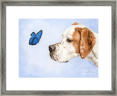 The Dog And The Butterfly Framed Print by Sarah Batalka
