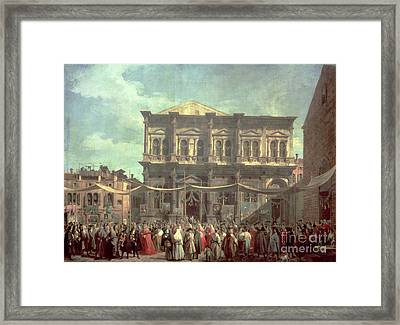 The Doge Visiting The Church And Scuola Di San Rocco Framed Print by Canaletto