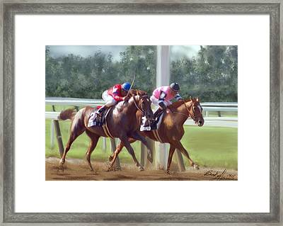 The Duel Framed Print by Becky Herrera