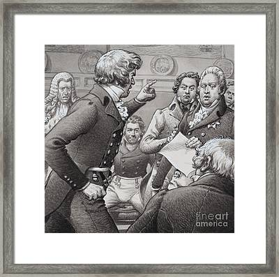 The Duke Of Cumberland, Shown Clashing In Public With His Brothers Framed Print by Pat Nicolle