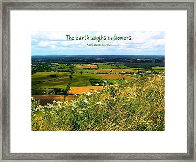 The Earth Laughs In Flowers Framed Print by Jen White