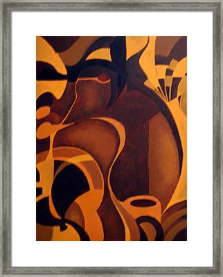 The Earth Rises Up Framed Print by DeLa Hayes Coward
