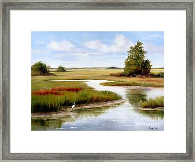 The Egrets World Framed Print by Glenda Cason