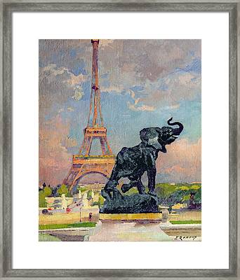 The Eiffel Tower And The Elephant By Fremiet Framed Print by Jules Ernest Renoux