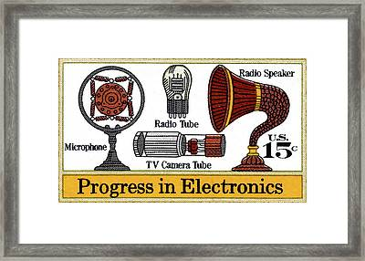 The Electronic Components Stamp Framed Print by Lanjee Chee