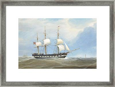 The Eliza Stewart Under Reduced Sail In The Channel Framed Print by William Clark