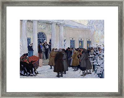 The Emancipation Of Russian Serfs Framed Print by Boris Mihajlovic Kustodiev