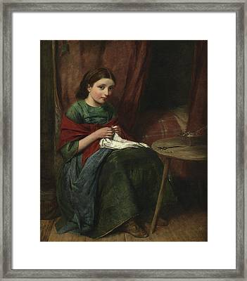 The Embroideress Framed Print by Edward John Cobbett