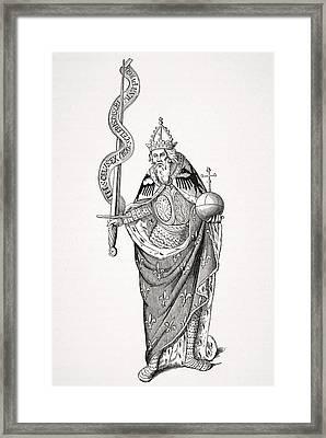 The Emperor Charlemagne 742 Or 747 To Framed Print by Vintage Design Pics