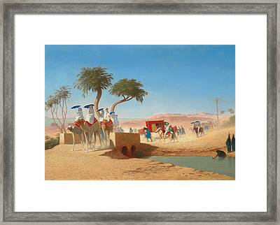 The Empress Eugenie Visiting The Pyramids Framed Print by Charles Theodore Frere