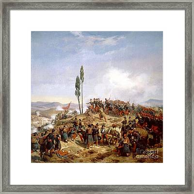 The Enemy Repulsed From The Heights Framed Print by Horace Vernet