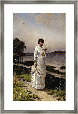Marriage Proposal Framed Print featuring the painting The Engagement Ring by Alfred Thompson Bricher