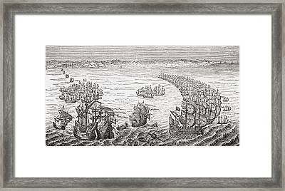 The English Fleet Commanded By Sir Framed Print by Vintage Design Pics