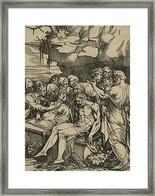 The Entombment Of Christ Framed Print by Andrea Andreani