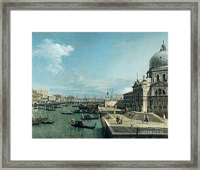 The Entrance To The Grand Canal And The Church Of Santa Maria Della Salute Framed Print by Canaletto